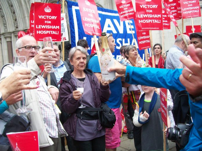 Celebrations outside the High Court on Wednesday after services were saved from closure at Lewisham Hospital