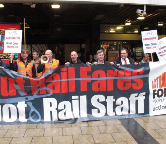Rail unions demonstrating outside Euston station last October against the West Coast Mainline tendering scandal