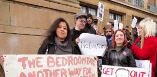 One of the many protests against the hated 'Bedroom Tax' that is putting many families into poverty