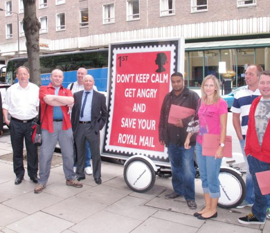 CWU members with campaign banner outside the Policy Forum