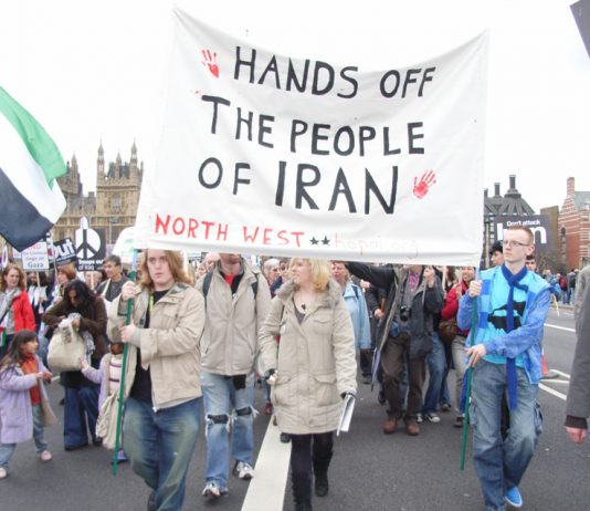 Marchers in London opposed to any imperialist intervention against Iran