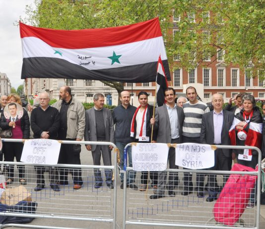 Syrians demonstrate outside the US embassy in May against foreign intervention and imperialist support for terror gangs