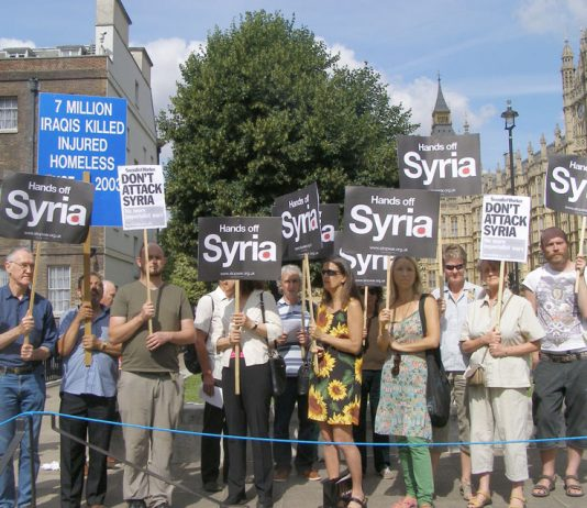 The demonstration outside the House of Commons yesterday afternoon demanding that the UK and US keep their hands off Syria