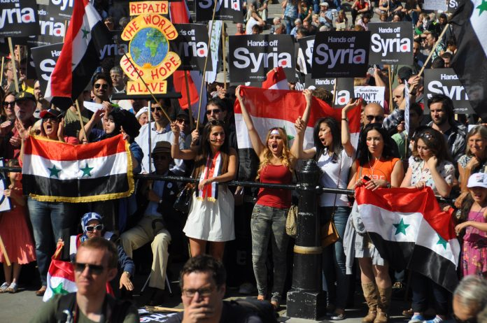Saturday's demonstration in London which demanded all attacks on Syria must halt immediately