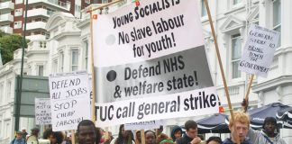 Young Socialists marching on Sunday in Bournemouth to the TUC Congress