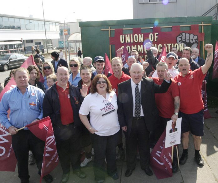 The CWU has been campaigning against the privatisation of Royal Mail since the days of the last Labour government. The picture shows its campaign in Corby in 2009