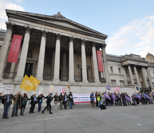 Campaigners against cuts in art and culture funding created a human chain circle outside the National Gallery in Trafalgar Square