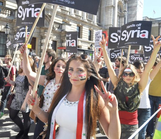 Syrian girls defiant on the London demonstration on August 31 against military intervention