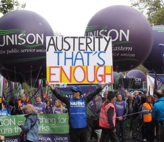 Marchers on last October's TUC demonstration against the coalition's austerity measures
