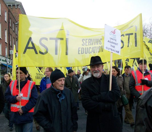 ASTI members with their banner on last February's march in Dublin against paying for the bankers' crisis