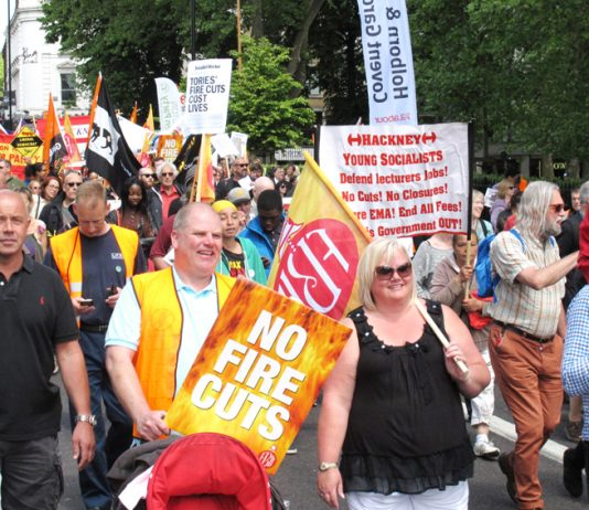 Firefighters and local residents marched through Angel Islington to the threatened Clerkenwell Fire Station in June