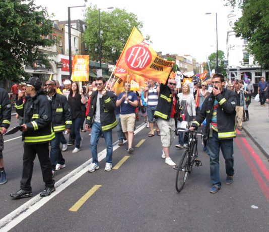 Demonstration in London in June against the closure of the Clerkenwell Fire Station