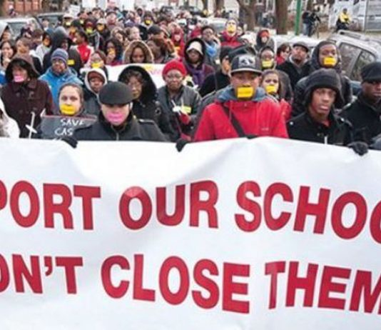 Demonstration in Chicago earlier this month against school closures