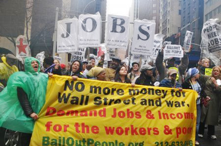 Wall Street protest for social justice. USAS and the AFL-CIO are in partnership for 'student and worker power'