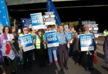 BMA members marching in London against cuts to the NHS