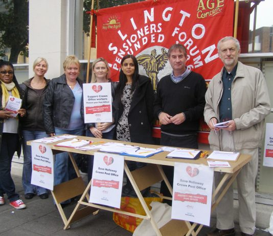 OUTSIDE Holloway Road Post Office yesterday pickets striking for the 13th time drew huge support from the public in opposition to the scandal of the privatisation of 70 Crown Post Offices.