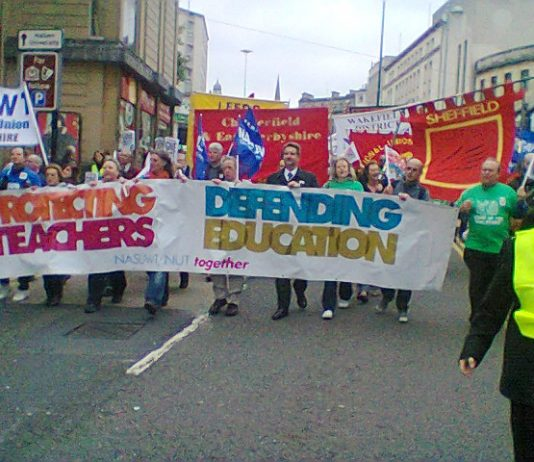 Above and right: Over 2,500 teachers marched through Sheffield midday condemning Education Secretary Gove and the Coalition government
