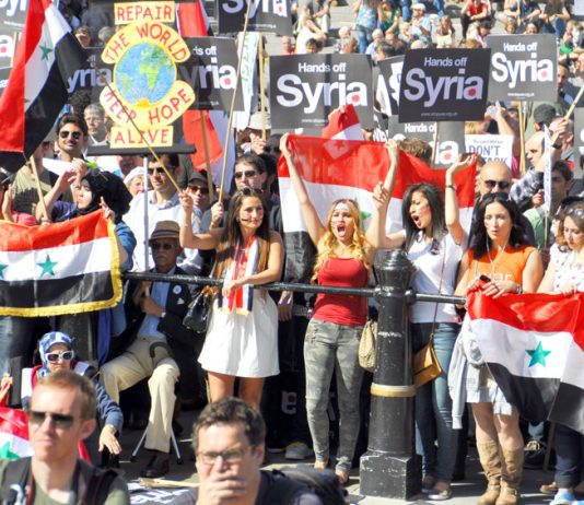 Demonstration in London in August  against an imperialist attack on Syria