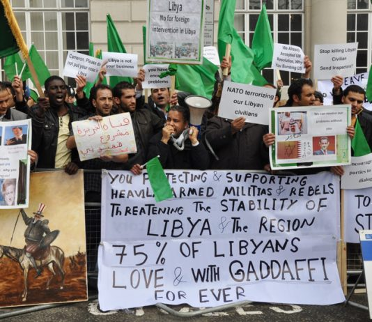 Demonstration in London in support of Gadaffi and against the British support for counter-revolutionary militias