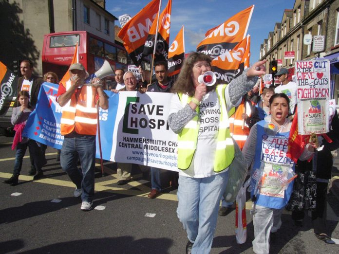 Marchers in Hammersmith determined to stop the closure of Charing Cross Hospital