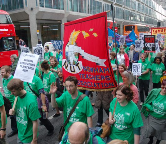 Teachers marching against Tory Education Secretary Gove's policies in June