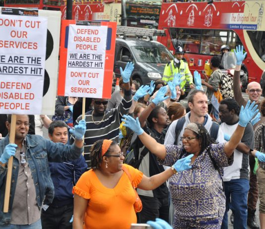 Demonstration against attacks on disabled people who are being hit hard by the new cuts to care