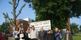 The weekly picket of Ealing Hospital by the West London Council of Action