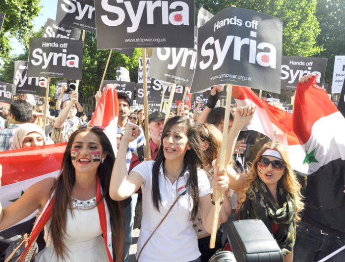 'Hands off Syria' demonstration in London on August 31 against any military intervention
