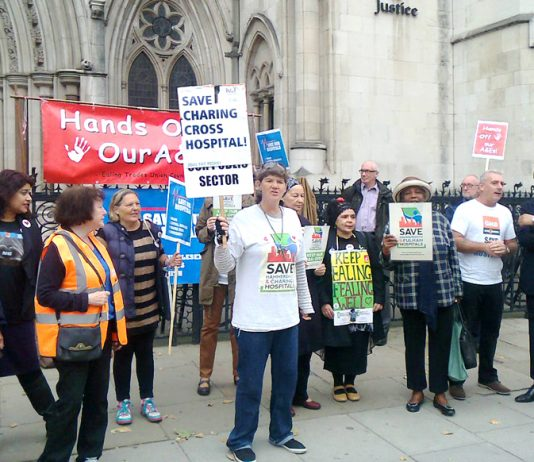 A strong picket of the Law Courts yesterday morning, demanding a judicial review of the decision to close Ealing Hospital's A&E