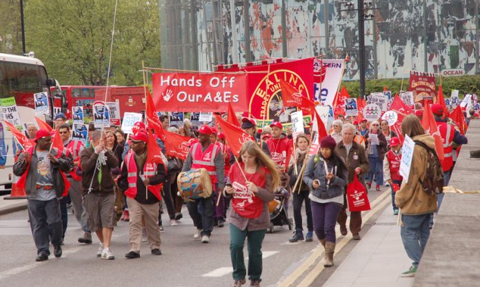 Demonstration in London to defend the capital's A&Es – workers are determined that the NHS must remain a service providing the necessary quality care for all who need it