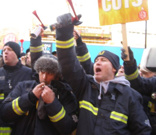 Firefighters defiantly lobbying the Fire Brigade HQ in Waterloo making clear they will not accept any cuts or sackings