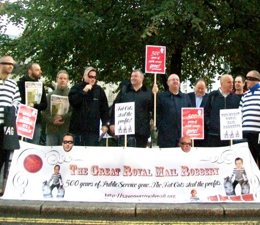 Postal workers lobbying the Stock Exchange at 7am Friday morning angrily opposing the sell-off of Royal Mail