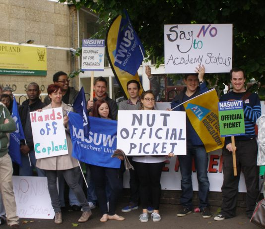 Teachers on the picket line at Copland school in Wembley during their strike against forced Academy status