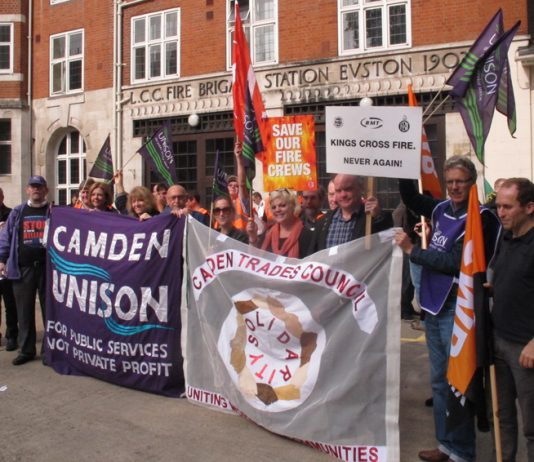 Trade unionists from the RMT, TSSA, Unison and the GMB joined the FBU picket line outside Euston fire station on September 25