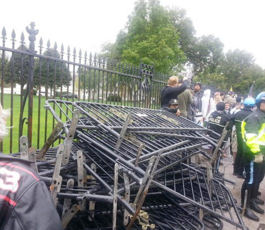 Barricades outside the White House on Sunday