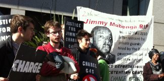 Demonstrators want action to be taken against G4S for the killing of Jimmy Mubenga