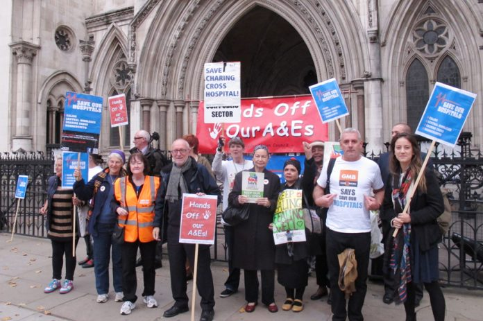 Lobby of the High Court last Wednesday demanding a judicial review to stop the closure of Ealing Hospital