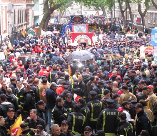 Masses of firefighters took part in yesterday's demonstration and showed their determination to beat this reactionary Tory-led government
