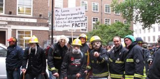 Firefighters show what the government plans for the fire service will mean