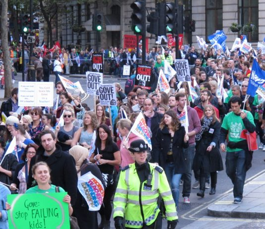15,000 teachers on yesterday's march determined to save state education by bringing down Gove and Tory-led coalition