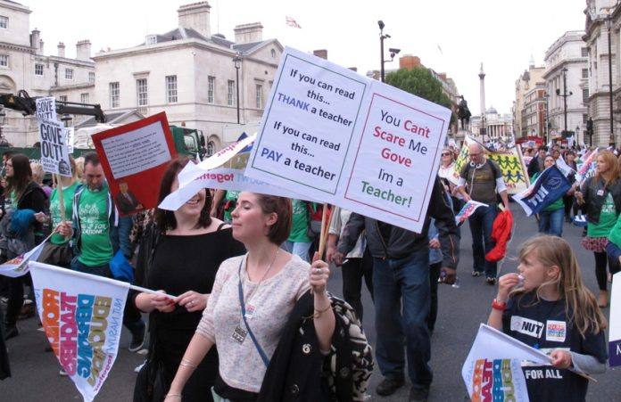 15,000 teachers marched to a rally in Westminster on Thursday