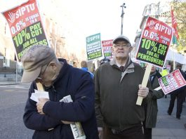 Angry pensioners marching against the proposed Budget 2014 cuts