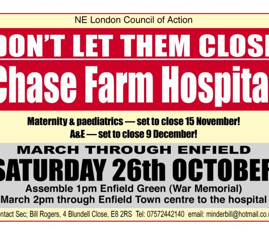 Defend Chase Farm Hospital March Saturday Oct 26