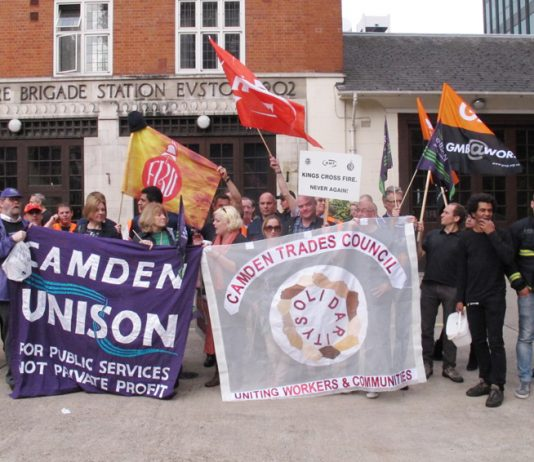 The picket line at Euston fire station on September 25, with FBU pickets backed by local trade unions
