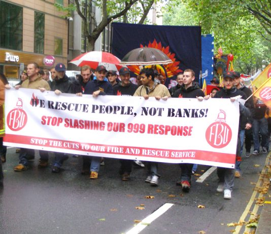 Firefighters marching on their national demonstration in London on Wednesday 16th October stressing the vital role that they play