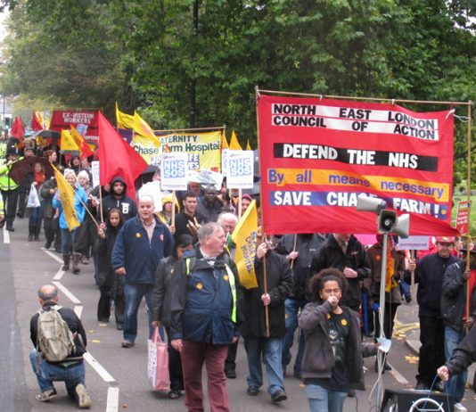 The front of Saturday's 1,000-strong march to stop the closure of Chase Farm Hospital