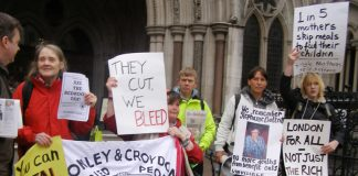 Protest against benefit cuts outside the High Court in London earlier this year