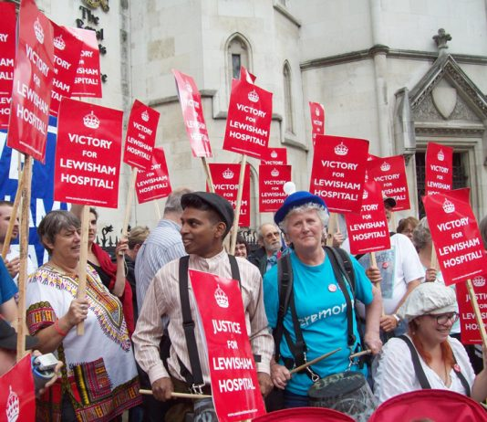 Campaigners celebrate winning a judical review against Lewisham closure in July. Health Secretary Hunt has now lost his appeal against the judges' decision