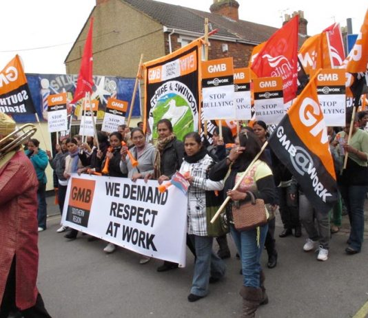 Carillion workers marching in Swindon – they have just voted 98.3% for industrial action
