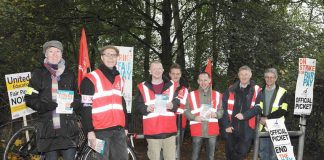 A strong picket at the University of East Anglia's cyclists entrance